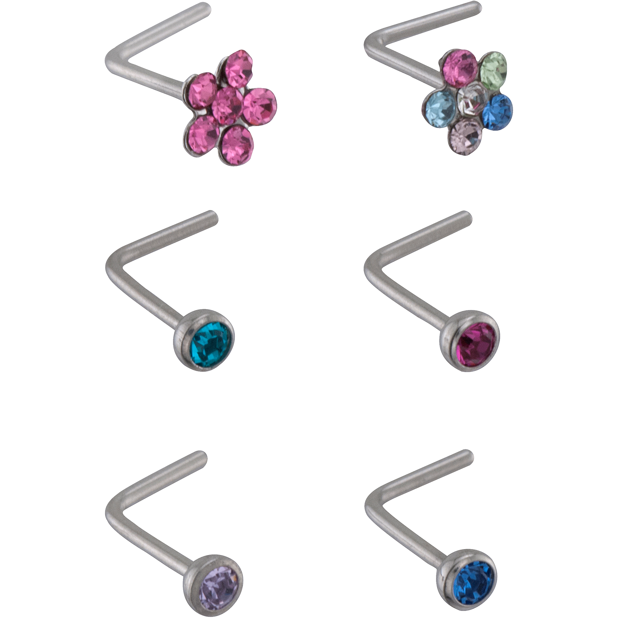 Hot Silver Crystal Accent Nose Stud Set