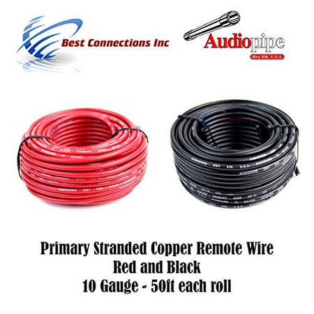 10 gauge wire red & black power ground 50 ft each primary stranded copper - Black 1/0 Gauge