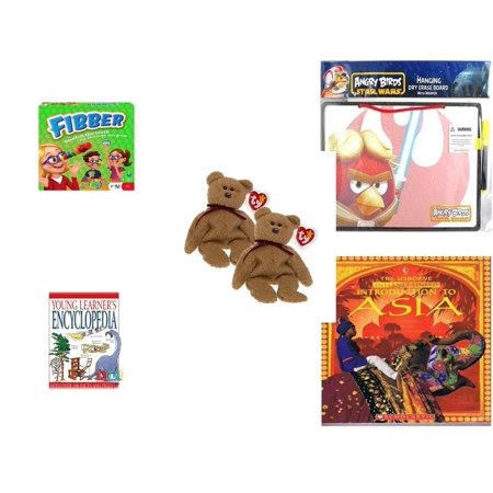 Curly Beanie Baby - Children's Gift Bundle [5 Piece] -  Flibber Board  - Angry Birds Star Wars Dry Erase Board w/ Marker  - Pair of Ty Beanie Babies Curly the Bear  - Encyclopedia (Young Learner's)  - Introduction to A