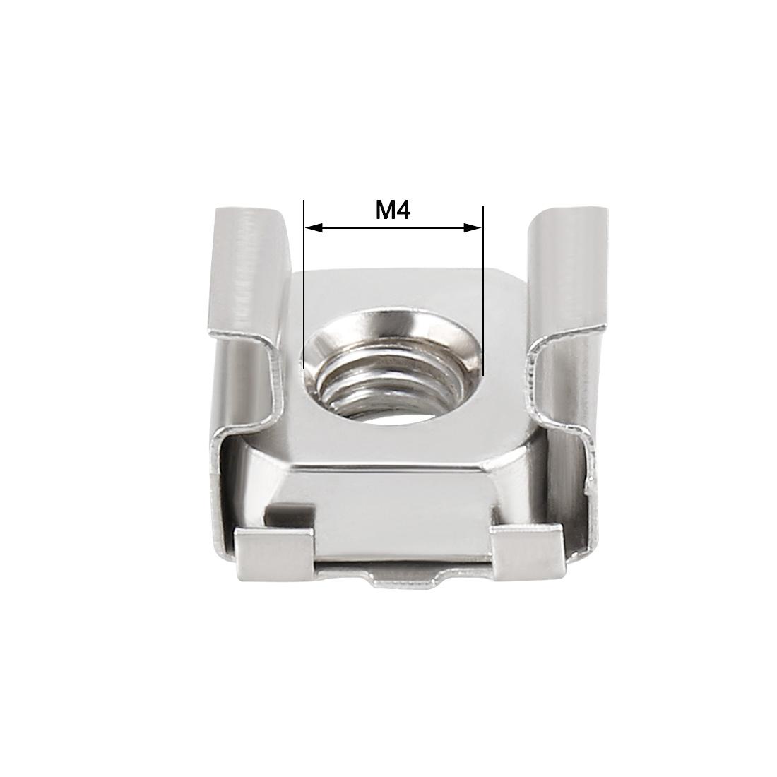 Unique Bargains 35pcs Carbon Steel Nickel Plated M4 Cage Nut for Server Shelf Cabinet - image 3 de 4