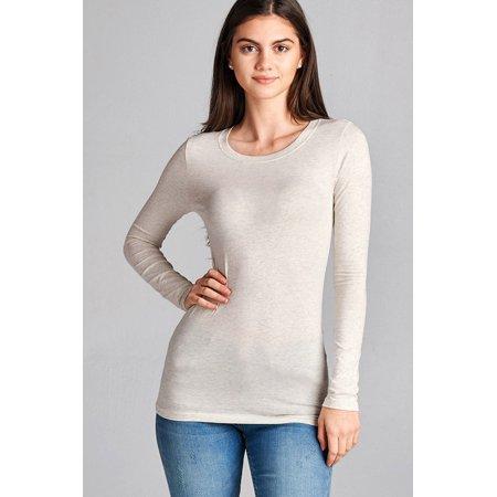 Basic Long Sleeve Crew Neck Top w/ Contract Neck (Basic Long Sleeve Lycra Shirt)