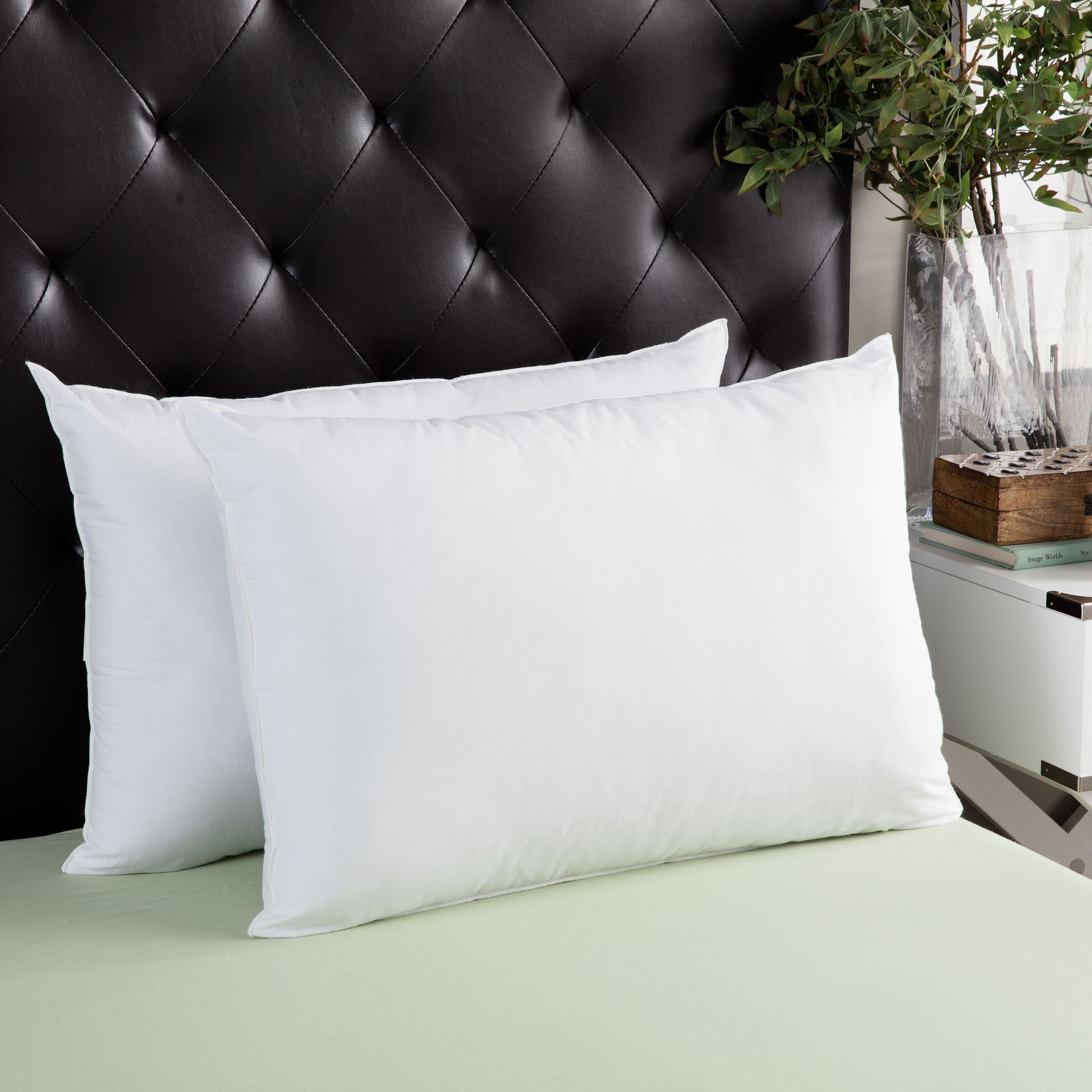 Set of 2 Down Alternative Overfilled of Micro-Denier fiber Bed Pillows