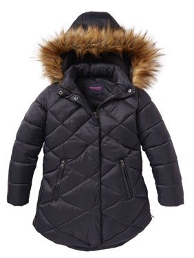 6adb57d84b63 Product Image Girls Quilted Fleece Lined Winter Puffer Jacket Coat Faux Fur  Trim Zip-Off Hood-