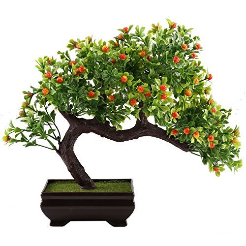 GTidea Fake Potted Plants Artificial Bonsai Plastic Pine Tree Home Office  Tabletop Zen Feng Shui Greenery