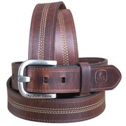 "32"" JOHN DEERE MENS BROWN CENTER STITCH LEATHER BELT 1.5"" WIDE NICKLE BUCKLE"