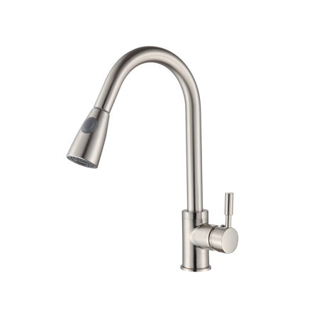 Buy-Hive Kitchen Faucet Brushed Nickel Pull Out Sprayer Home Sink Mixer Tap  Single Handle