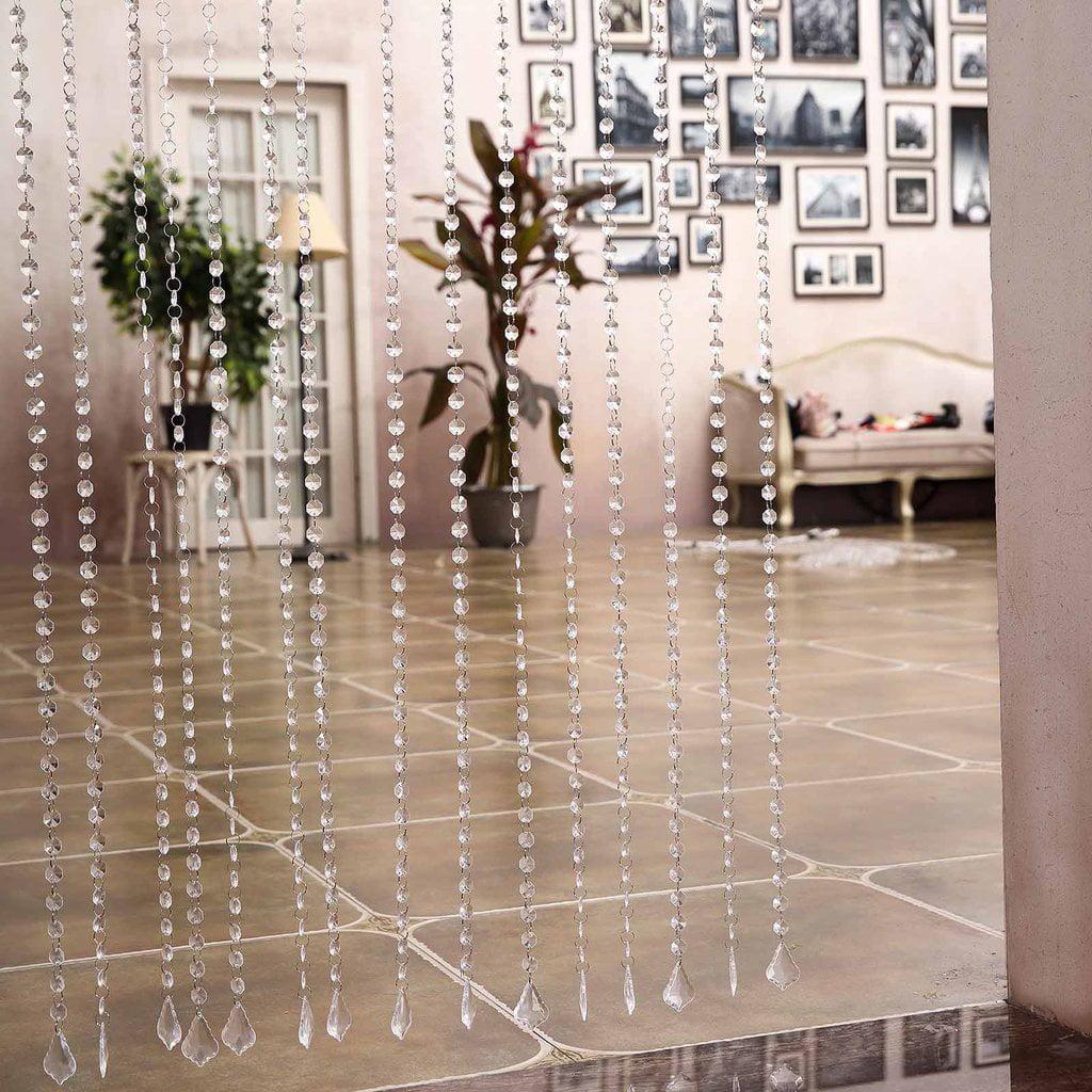 Efavormart DIVA-Style Premium Endless Diamond Curtain Backdrops 8ft x 3ft Clear Diamonds w/ Metal Rod Top