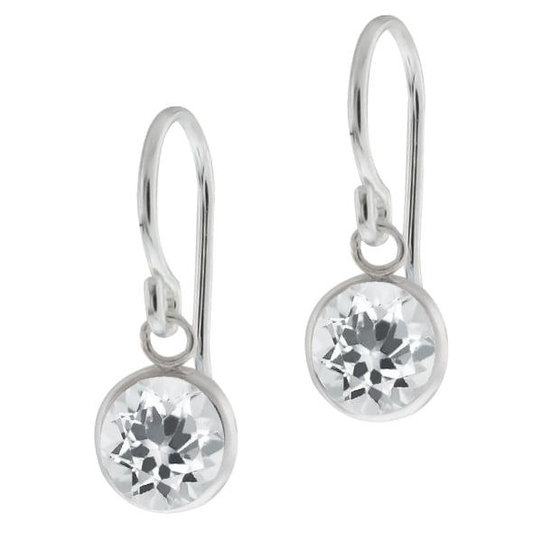 1.40 Ct Round White Quartz Sterling Silver bezel Earrings 6mm