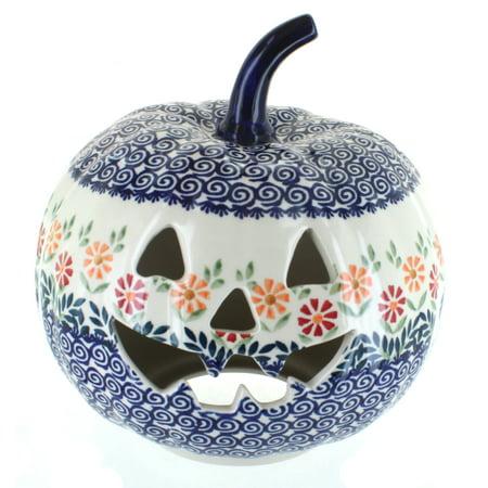 Blue Rose Polish Pottery Garden Bouquet Large Pumpkin Luminary