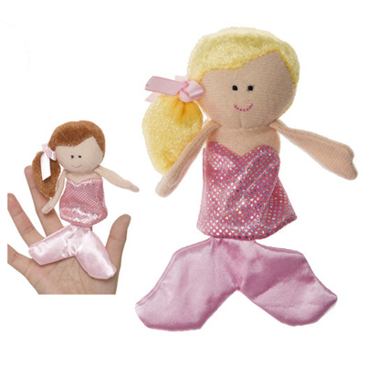 Blond Haired Mermaid With Pink Dress Finger Puppet - By Ganz