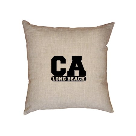 Long Beach, California CA Classic City State Sign Decorative Linen Throw Cushion Pillow Case with Insert