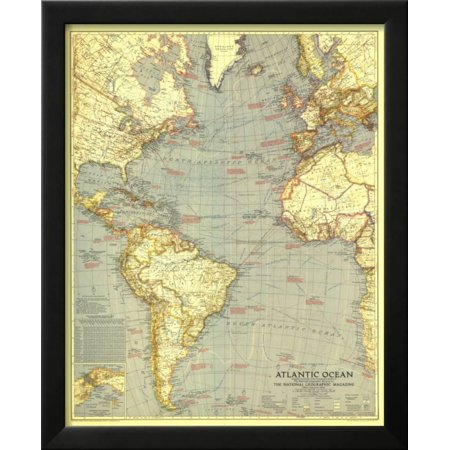 1939 Atlantic Ocean Map Framed Print Wall Art By National Geographic ...