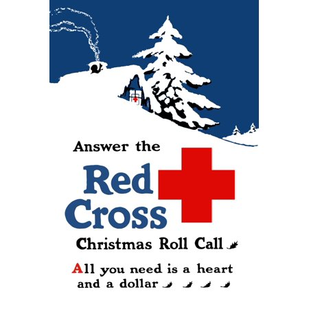 World War I poster showing a snow covered cabin with a Red Cross sign in window Poster