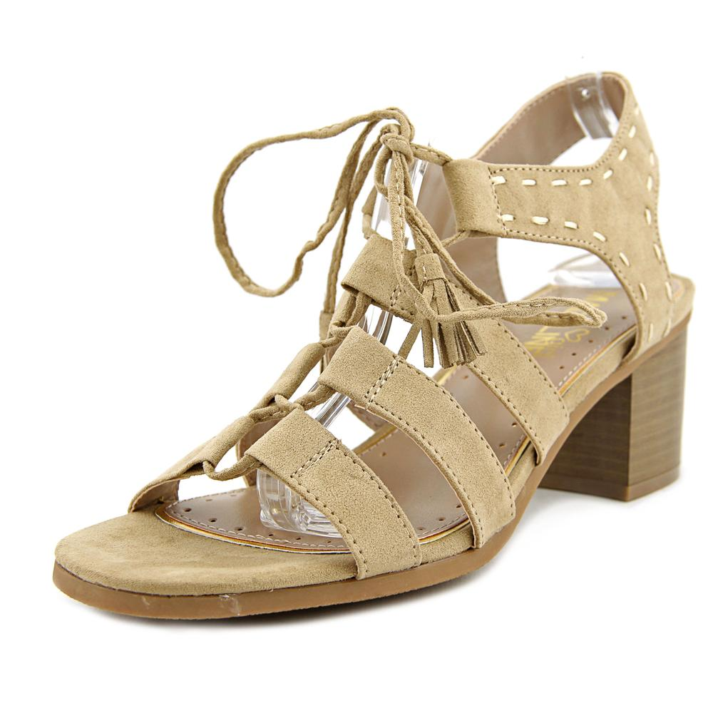 Madeline Girl Gallop Women  Open Toe Canvas Tan Sandals