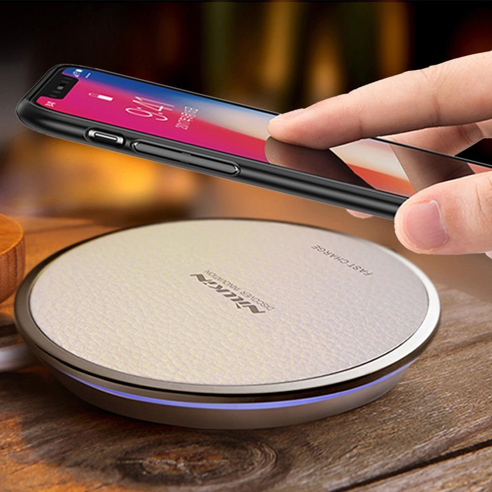 Fast Wireless Charger, QI Fast wireless Charging pad Stand [Support Quick Charge 2.0] [Classic Leather] for iPhone 8/8 Plus/X, Samsung Note 8, Galaxy S8/S8 Plus/S7 and All Qi-Enabled Devices - White