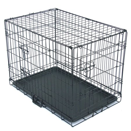 Dog Crate, Single/Double Door Dog Crate with Divider Panel, Folding Metal Pet Dog Cage Kennel with Leak-Proof Dog Tray, 20
