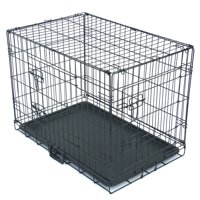 """Medium Dog Kennel, 30"""" Double Door Dog Crate with Divider Panel, Folding Metal Pet Dog Cage Kennel with Leak-Proof Dog Tray/floor Protecting Feet, 30L x 19W x 22H Inches, Small Medium Dog Breed, I8294"""
