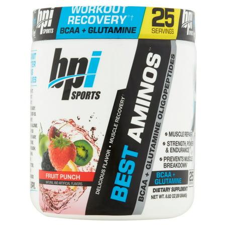BPI Sports Best Aminos BCAA + Glutamine Powder, Fruit Punch, 25 Servings for $<!---->