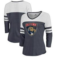 Florida Panthers Women's Distressed Team Primary Logo Three-Quarter Sleeve Tri-Blend T-Shirt - Navy
