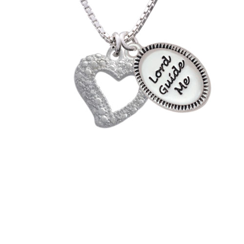 """Textured Open Heart Lord Guide Me Necklace, 18""""+2"""""""