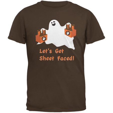 Halloween Ghost Sheet Faced Brown Adult T-Shirt
