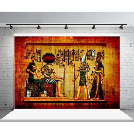 GreenDecor Polyster 7x5ft Photography Background Old Egpyt Natural Paper Color Egyptian Mural Pharaoh Drawing Wall Painting Home Decorations Holiday Party theme Photos Shooting Video Studio Props (Egyptian Party Theme)