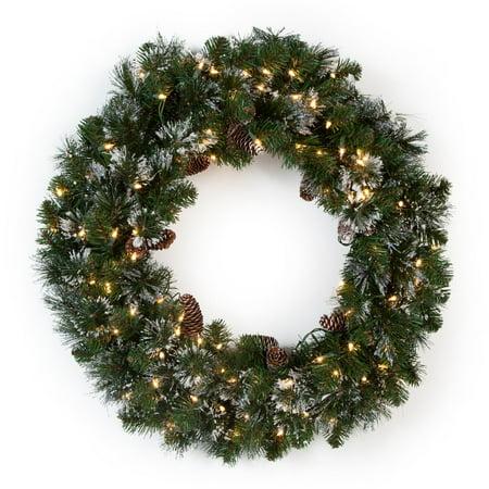 30 in. Glittery Pine Pre-lit Wreath