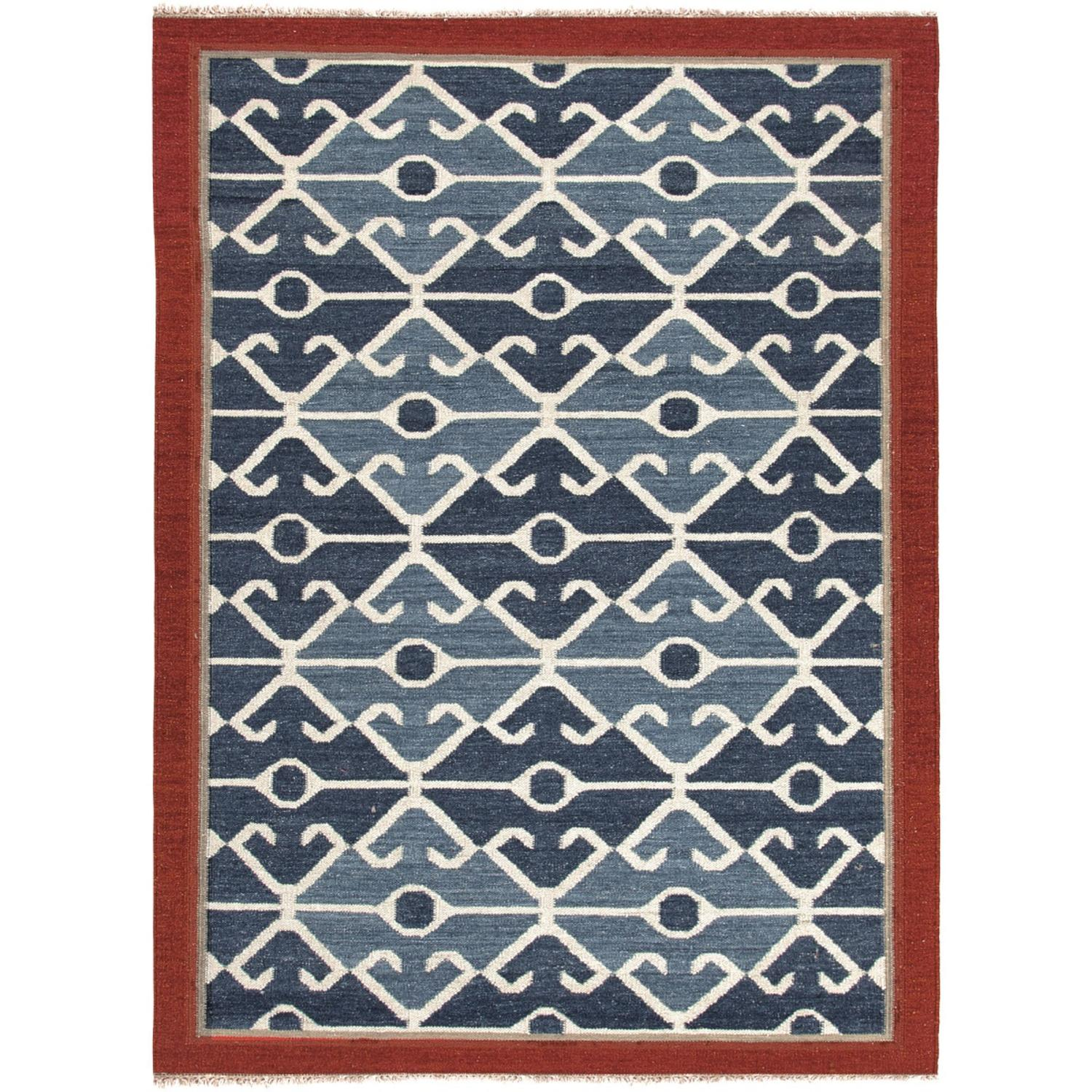 4' x 6' Red, Blue and Gray Sultan Flat Weave Ottoman Hand Woven Wool Area Throw Rug