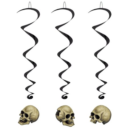 Club Pack of 30 Halloween Spooky Skull Whirls Hanging Party Decorations 3'4
