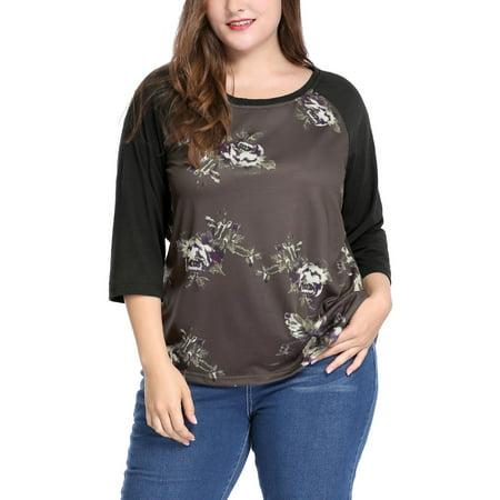 Women Plus Size Scoop Neck 3/4 Raglan Sleeves Floral Top Blouse Shirt Coffee 1X (Isis Womens Scoop)