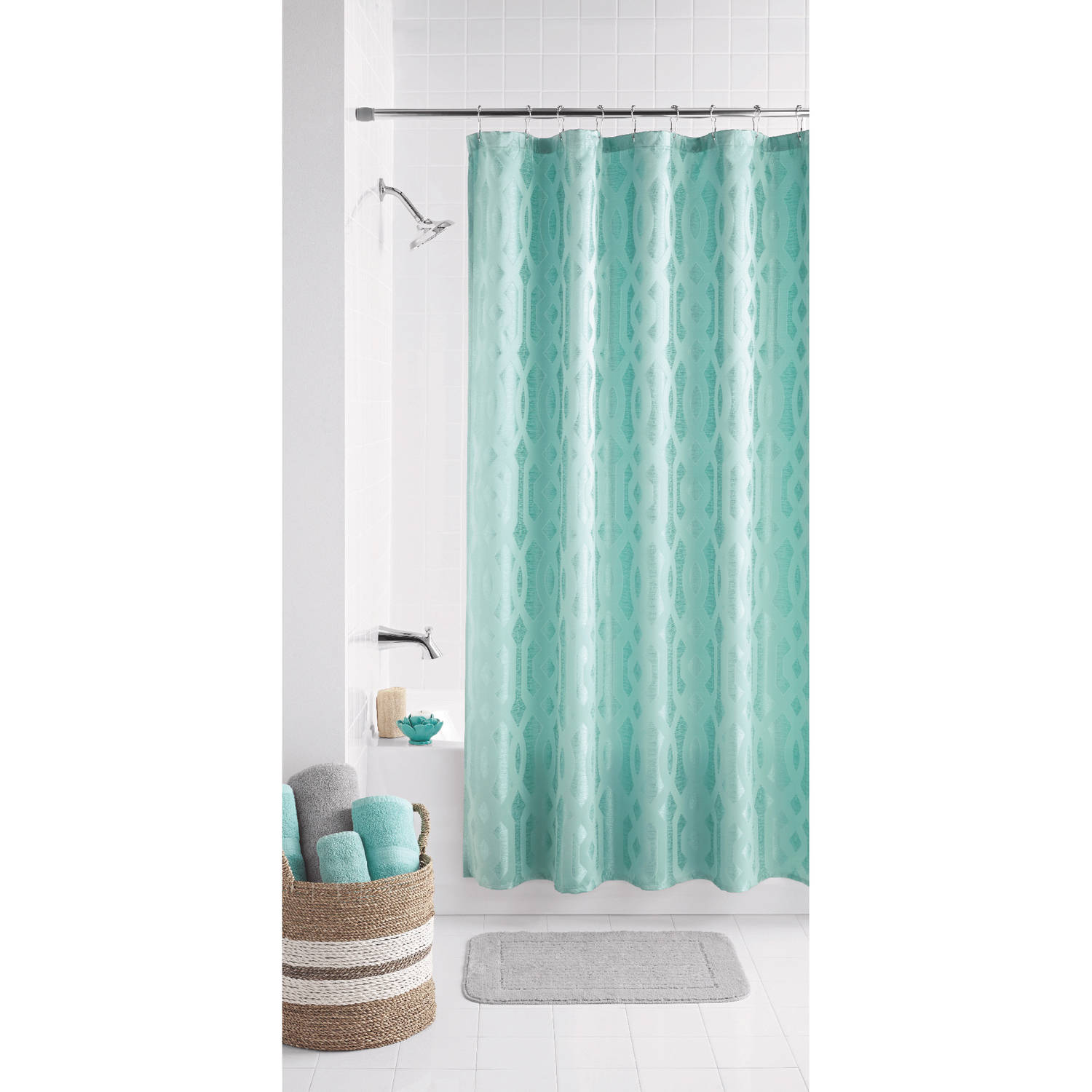 Mainstays Geo Jacquard Fabric Shower Curtain by Keeco