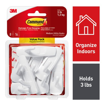 3M Command Damage-Free Medium Utility Hooks, Holds 3 lbs, Decorate without Tools, Indoor, 8 Hooks, Value Pack (17001-8ES)