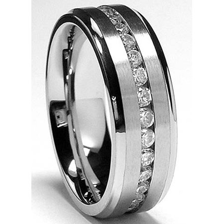 Men's 8MM High Polish / Matte Finish Eternity Stainless Steel ring with Cubic Zirconia sizes 7 to