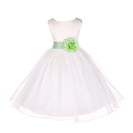 Ekidsbridal Ivory Shimmering Organza Christmas Party Formal Bridesmaid Recital Easter Holiday Wedding Pageant Communion Princess Birthday Clothing Toddler Baptism 841S Flower Girl Dress - Fancy Toddler Christmas Dresses