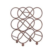 6 Bottle Table Top Rectangular Rustic Brown Iron Wine Rack With Circular Figure Eight Design For