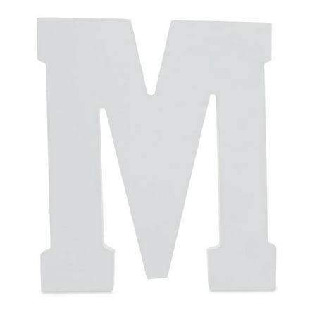 6 classic font white color wooden letter m