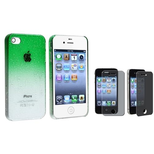 INSTEN Green RainDrop Hard Case+PRIVACY FILTER for Sprint Verizon AT&T iPhone 4 G 4S