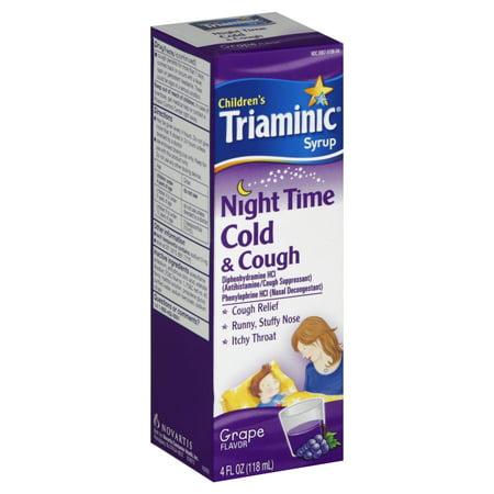 Children's Triaminic Night Time Cold & Cough Liquid, Grape, 4 Fl Oz Flu Time Tea