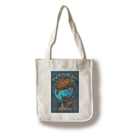 Key West, Florida - Sea Turtle Art Nouveau - Lantern Press Artwork (100% Cotton Tote Bag - Reusable) - Art Tote
