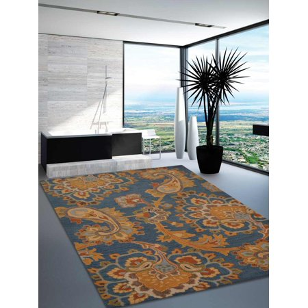 Rugsotic Carpets Hand Tufted Wool 3'x5' Area Rug Floral Blue K00151