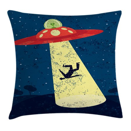Outer Space Decor Throw Pillow Cushion Cover, Distressed Graphic of Alien Abduction of Human Science Fiction Image, Decorative Square Accent Pillow Case, 18 X 18 Inches, Blue Yellow, by Ambesonne - Outer Space Decor