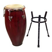 """Conga DRUM 12"""" and STAND - RED WINE -World Percussion NEW!"""