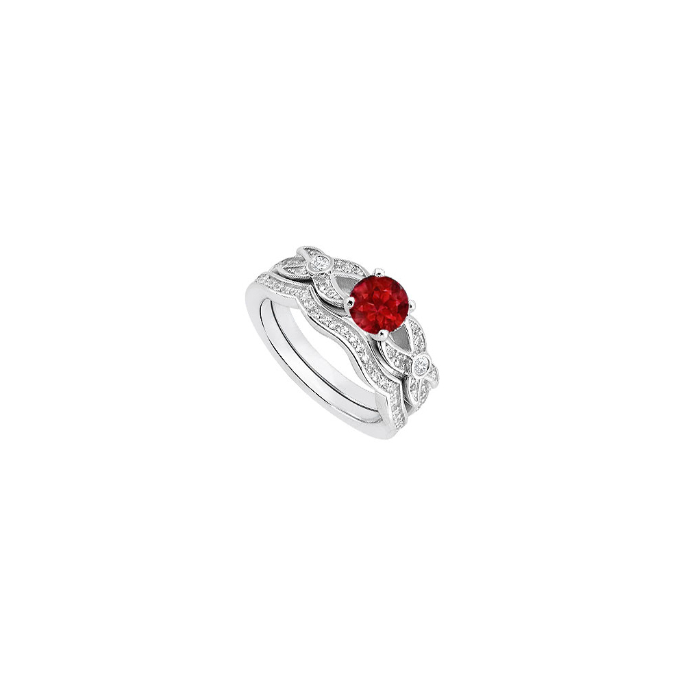 14k White Gold Cubic Zirconia And Created Ruby Engagement Ring With