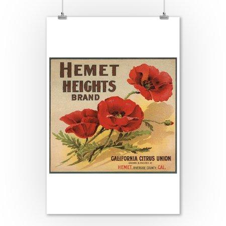 Hemet Heights Brand - Hemet, California - Citrus Crate Label (9x12 Art Print, Wall Decor Travel Poster) ()