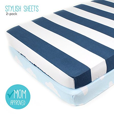 Pack N Play Playard Sheet Set 2 Ed Soft Jersey Cotton Portable Crib Baby Bedding In Blue Stripes Clouds By Mumby