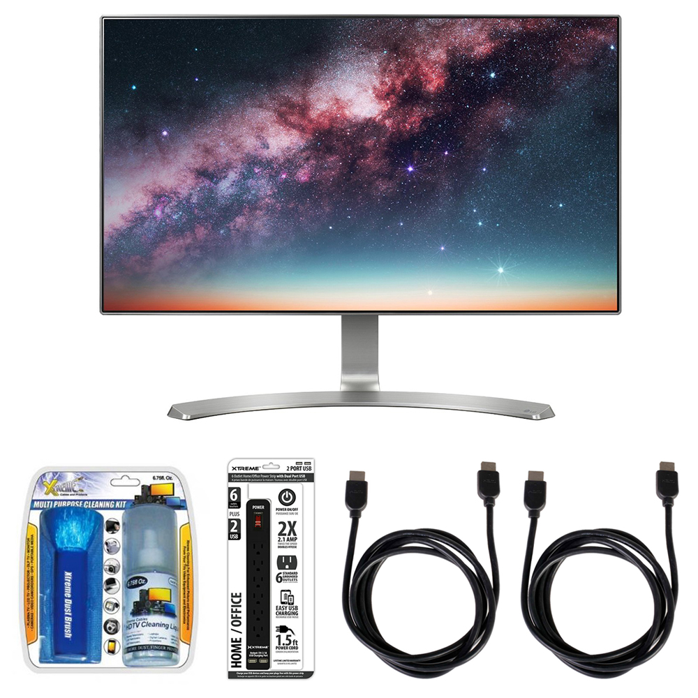 """LG 24"""" Screen LED-Lit Monitor (24MP88HV-S) with Xtreme Performance TV/LCD Screen Cleaning Kit, Xtreme 6 Outlet Power Strip & 2x General Brand HDMI to HDMI Cable 6'"""