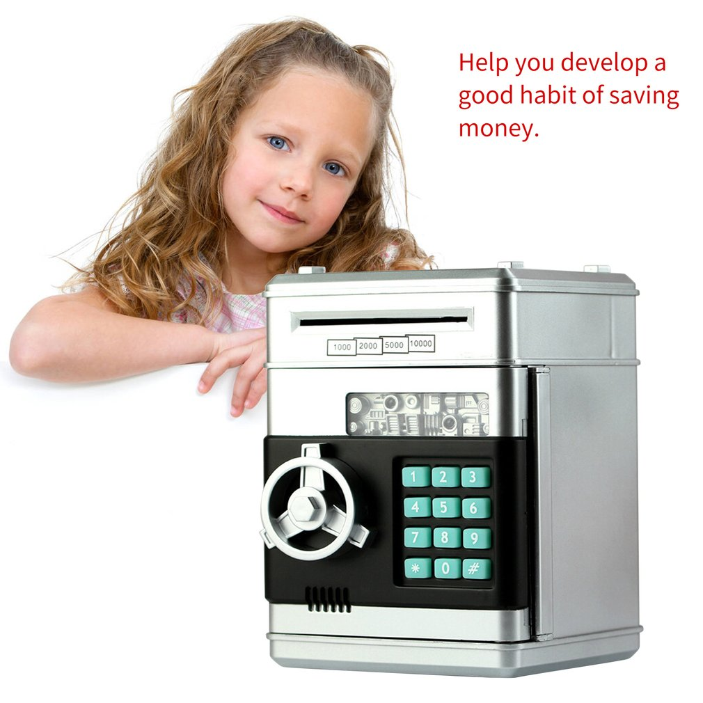 watata Childrens Cartoon Electronic Password Piggy Bank Mini ATM Bank Security Lock Smart Voice Prompt Automatic Roll Banknotes and Coins Best Childrens Gifts Fun Toys Birthday Gifts Pink