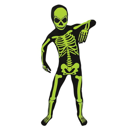 Boy Glow Skeleton Bodysuit Large Halloween Dress Up / Role Play Costume