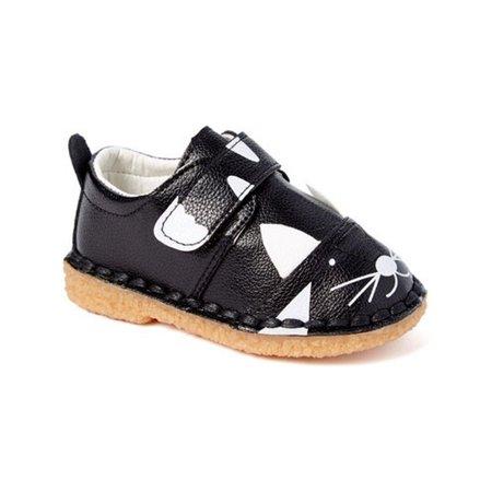 - Little Girls Boys Black White Cat Face Motif Strap Sneakers 5-10 Toddler