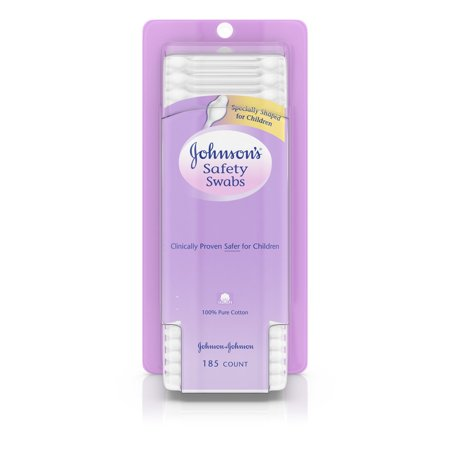 Johnson's Baby Safety Ear Swabs Made with Non-Bleached Cotton, 185 ct
